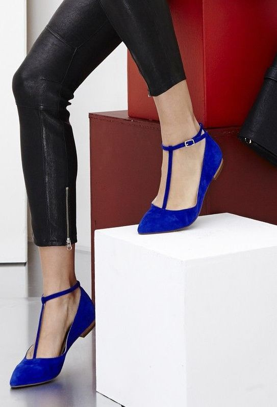 Crystal Blue T-strap Flats