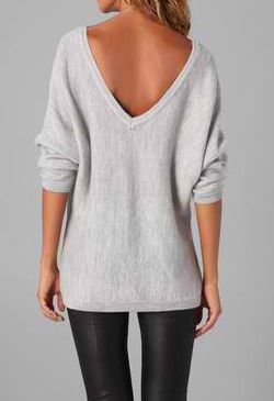 V back sweater. Leather leggings. Cute!