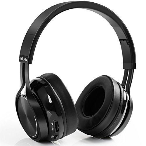Dylan Bluetooth 4.1 Headphones Wireless Foldable Over-Ear Headphones with HiFi Stereo Built-in Mic 3.5mm Audio Jack for iPhone Samsung Android Phones & Tablets Black
