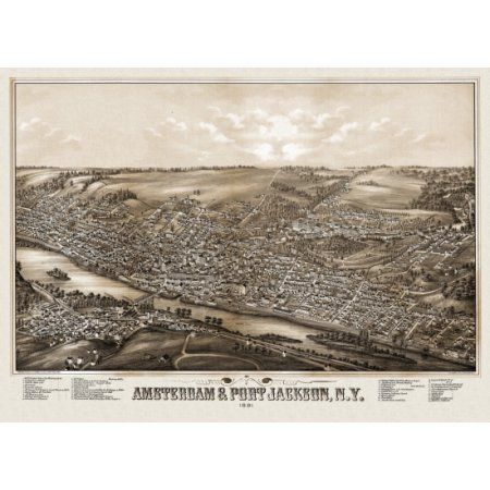 Antique Map of Amsterdam New York 1881 Montgomery County Canvas Art - (18 x 24)