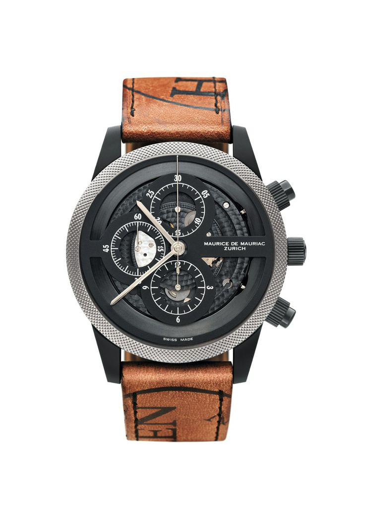 Stunning Swiss Made watch, by Maurice de Mauriac, Features Horween leather strap. http://www.mauricedemauriac.ch/home.php