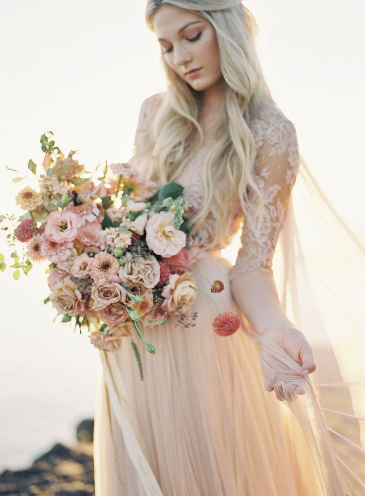 Blush Lace Wedding Dress Inspiration by Heather Payne Photography | Wedding Sparrow | wedding blog