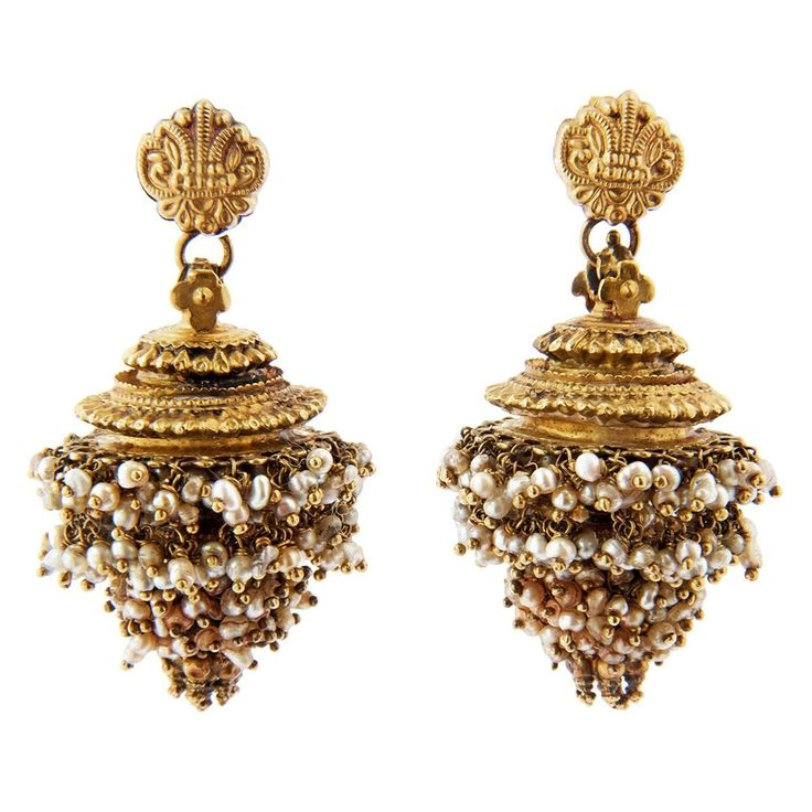 Gold ear pendants, GINTLI, India, Andhra Pradesh, ca 1900. A pair of gold ear pendants, GINTILI with JHIMKi, consisting of a small top, and suspended dome shaped pendant, JHIMKI, decorated with granulation and hung with bunches of small pearls. India, Andhra Pradesh / Karnataka (Mysore), ca 1900