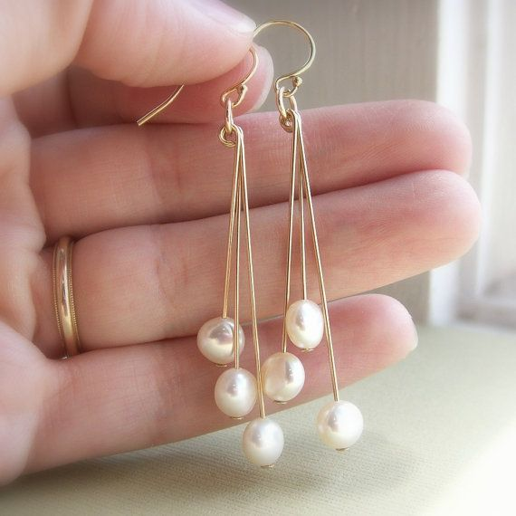 Coin pearl earrings, freshwater pearls, white, cream, gold earrings, dangle earrings