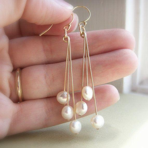 Pendientes de perlas perlas de agua dulce blanco por KGarnerDesigns