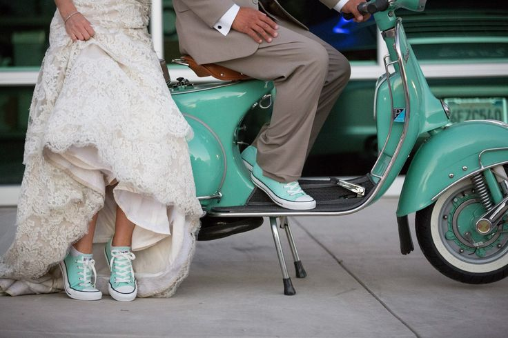 #MintGreenwedding.  wedding. #SeafoamGreenwedding. Vespa wedding. Converse wedding. April Smith Wedding Photography. I like the colors, but hate the chucks.