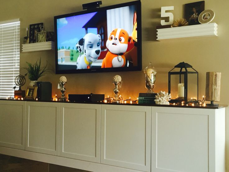 diy media console white ikea besta cabinets with wood top media consoles pinterest. Black Bedroom Furniture Sets. Home Design Ideas