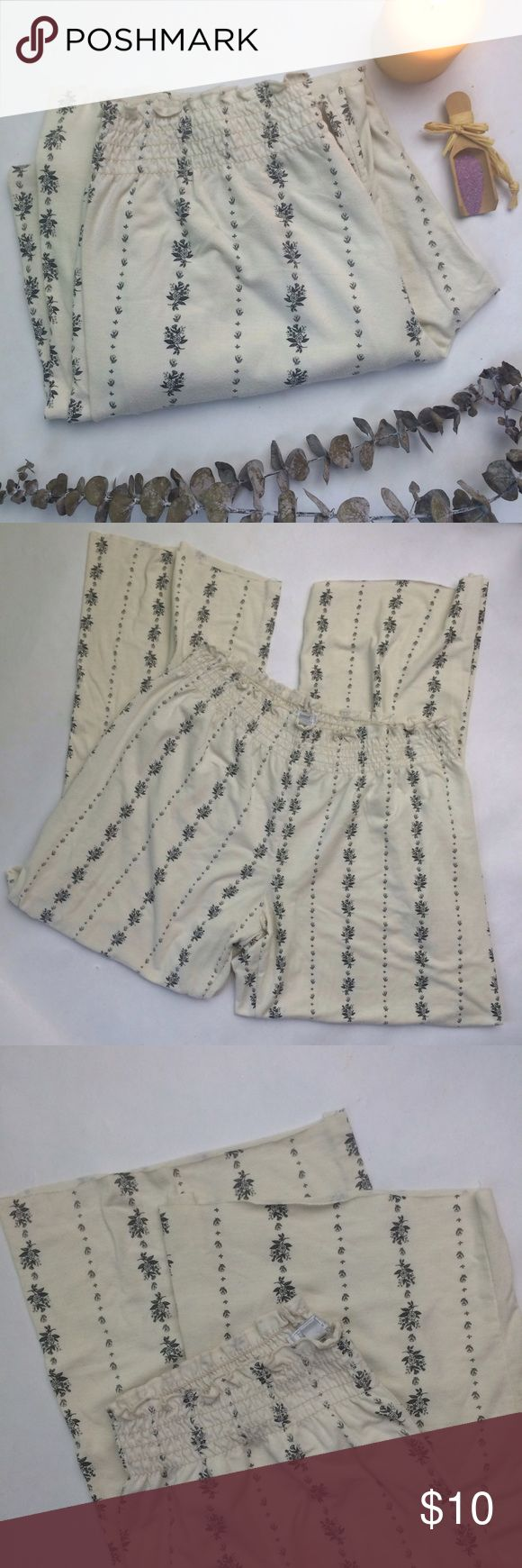 """✨NEW Listing✨Tart Intimates pajama bottoms Tart Intimates (of Tart Collections) cream pajama bottoms with grey stripes in a floral motif. Elastic waistband. The bottoms have been trimmed and have a raw edge, see third photo. Inseam length is now approx. 26"""". Size is M. 62% polyester/33% rayon/5% spandex. Not interested in trades. Tart Intimates Intimates & Sleepwear Pajamas"""