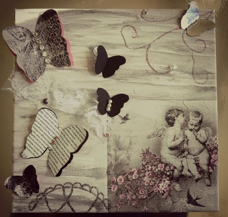 Romantic Shabby Chic DIY canvas art- 3D Mixed Media art with decoupage paper,newspapers,rhinestones and lace...