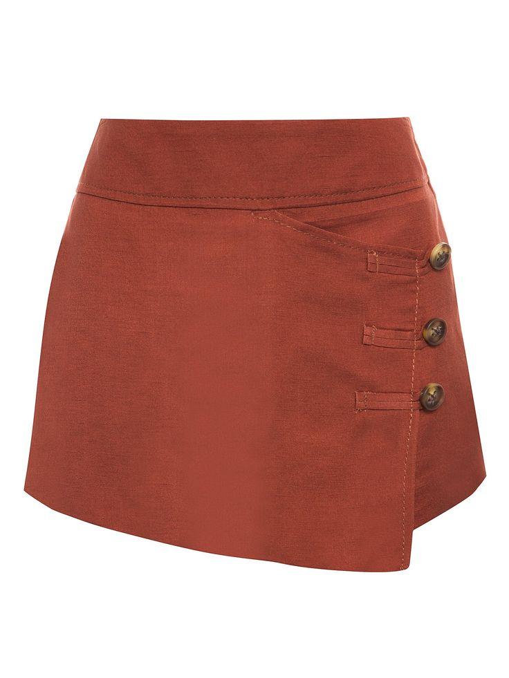 Short Saia Alfaiataria Linho - Bobstore - Marrom - Shop2gether