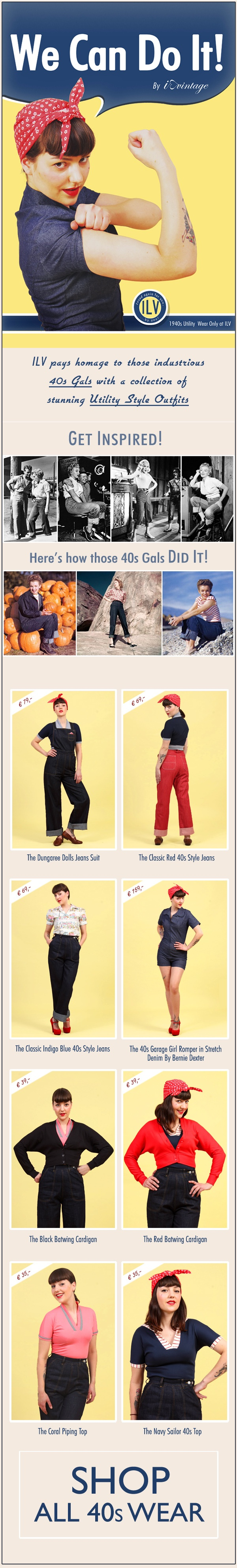 We love the 40's! Our latest Newsletter! An ode to Rosie the Riverter @Melissa Spivak. Vintage.com ~