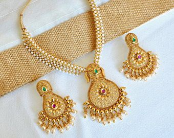 Antique gold faux white pearl Indian necklace with tear drop shaped pendant and earrings | South Indian Jewellery | | Temple Jewelry