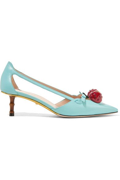 Heel measures approximately 45mm/ 2 inches Turquoise leather Slip on  This style is made with natural bamboo and as such may have small indentations Made in Italy