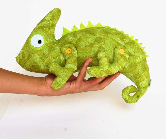 Chameleon soft toy kids Cotton blue stuffed animal by RomeoShop