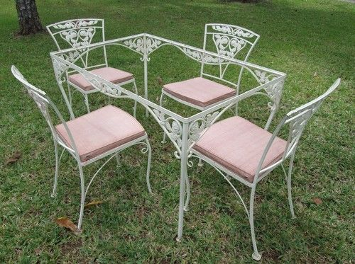 Vintage Wrought Iron Patio Table Set