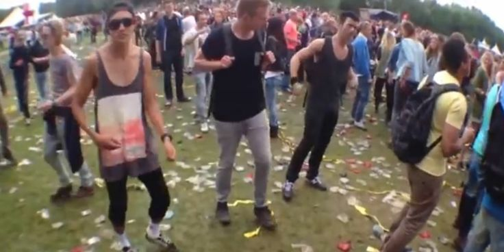 Video of a bunch of ravers dancing to the Benny Hill song is pretty funny