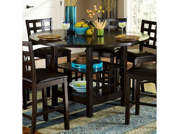 Homelegance Glendine Transitional Counter Height Table with Shelves and Drop Leaves - Darvin Furniture - Pub Tables