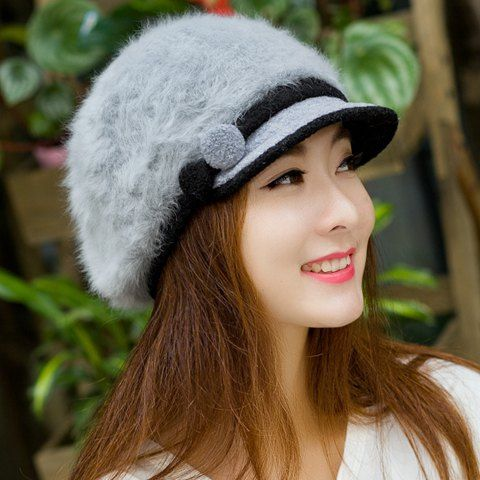 Chic Faux Fur Button and Strappy Embellished Newsboy Cap For Women