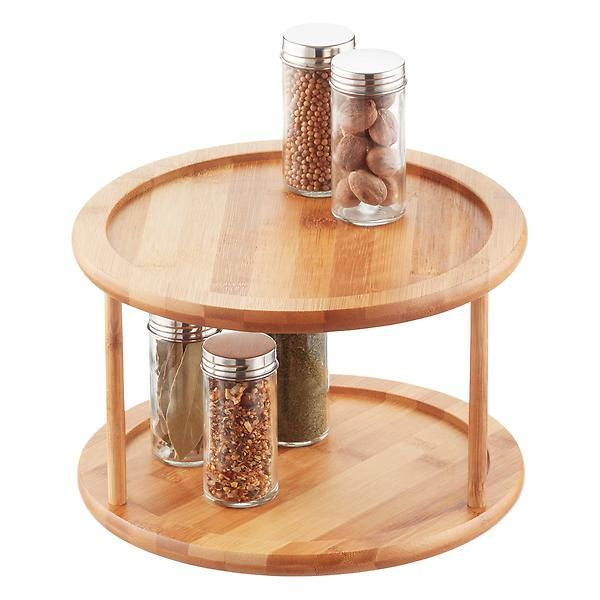 2 Tier Bamboo Lazy Susan With Images Lazy Susan Pantry Organizers Lazy Susan Organization