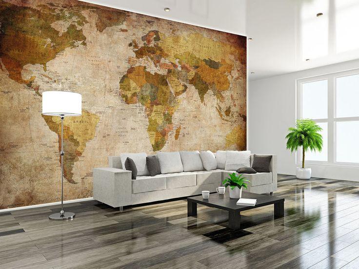 Cute Details zu Retro Weltkarte Globus XXL Wanddekoration Wohnzimmer Wandbild cm x cm