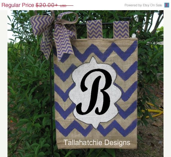 Personalized Burlap Garden Flag In Chevron Initial