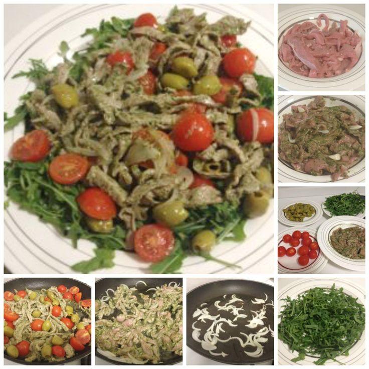 Straccetti di carne con pesto, rucola e pomodorini - Strips of beef with arugula pesto sauce and cherry tomatoes http://www.armoniadimandorle.it/2014/06/straccetti-di-carne-con-pesto-rucola-e.html