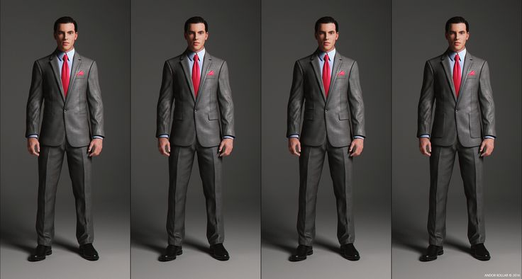 1 Button Suit Jacket with notched lapel and pocket variations
