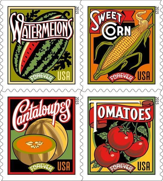 Summer Harvest postal stamps being issued this week  Gardens and kitchen tables were where you used to find watermelon, corn on the cob, cantaloupes and tomatoes.  Now, you'll start finding these food faves on your mail. The U.S. Postal Service is saluting these foods with four new Forever stamps.  http://www.chicagotribune.com/dining/ct-summer-harvest-postal-stamps-20150706-story.html