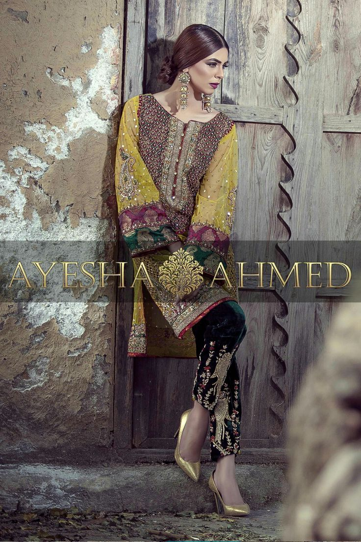 Pakistani handmade embroiderd shirt with cigarette pant