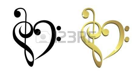 klucz wiolinowy: Serce utworzone z klucz wiolinowy i basowy clef Ilustracja