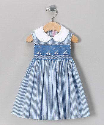 Emily Lacey Blue Smocked Sailboat Dress - Infant, Toddler & Girls