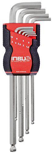 Jeu de clés Allen INBUS® 71249 avec tête sphérique métrique 9 pièces 1,5 – 10mm | Made in Germany | Clé Inbus | clé Allen | Clé coudée |…