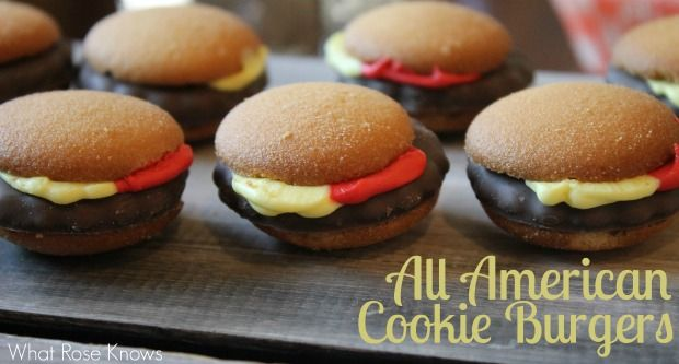 Memorial Day, 4th of July, or picnic dessert idea! Super easy All American Cookie Burger Dessert made with vanilla wafer cookies, fudge covered mint cookies, and frosting! Add shoestring fries in a can for your All American Burger Dessert!
