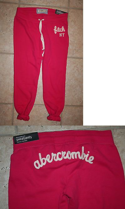 Pants 51568: Nwt Abercrombie Girls Medium Classic Banded Pink Sweatpants -> BUY IT NOW ONLY: $42.5 on eBay!