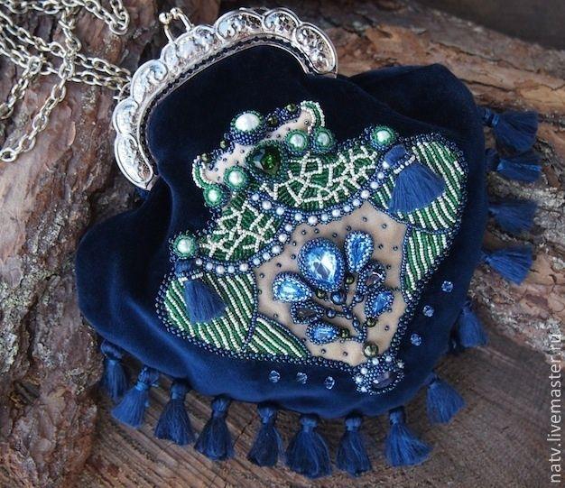 Купити Синий бархат - тёмно-синий, синий, корона, сумочка, кисет, ридикюль, бархат, шелк