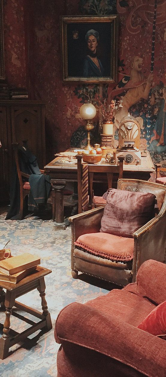 Beautiful decor in the Harry Potter Gryffindor common room