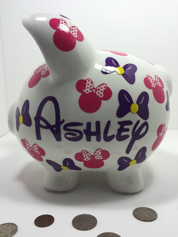 Minnie Themed Piggy Bank  Large Piggy Bank by sketchedglass