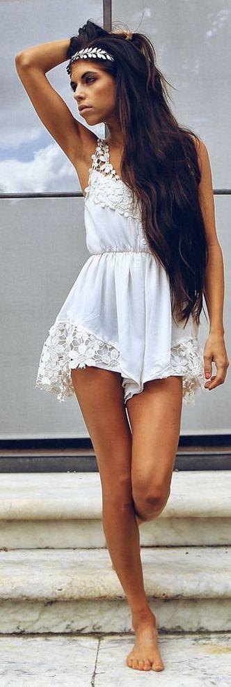 White Floral Crochet Lace Trim Romper Playsuit Bohemian Style #UNIQUE_WOMENS_FASHION