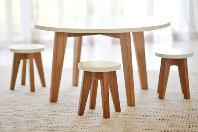 Scandi inspired kids table setting from gather kids. Great as a coffee table if you have little ones.