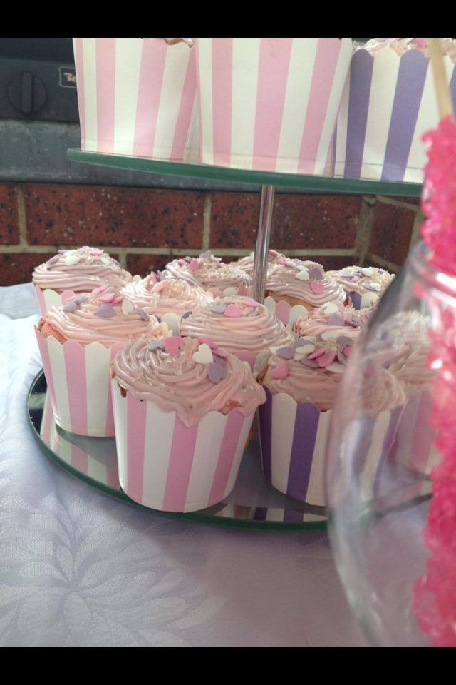 Pink purple baby shower cupcakes