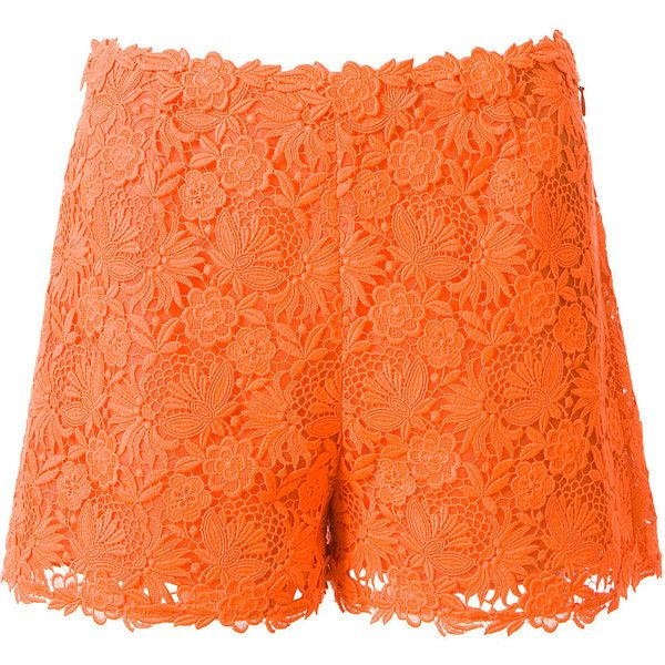 Valentino neon orange macramé short found on Polyvore