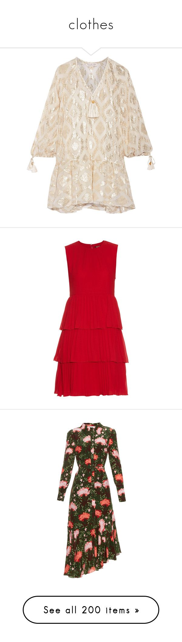 """""""clothes"""" by ms-perry ❤ liked on Polyvore featuring dresses, ivory, slip dress, metallic mini dress, pink slip, metallic dress, bohemian dresses, red tiered dress, red pleated dress and maxmara dress"""