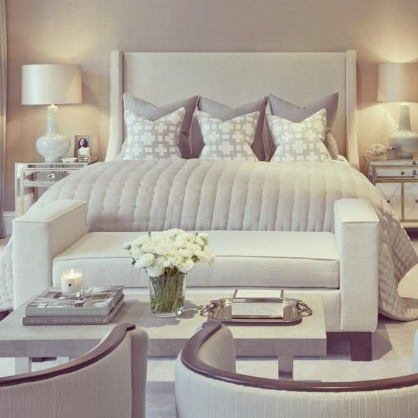 A bedroom can be made to feel more luxurious by decorating with more than just a bed and dresser. Try adding a matched set of chairs to make your room more elegant!