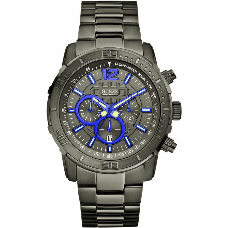 17 best images about guess acrylics minis and cus guess in stock striking mens guess brickhouse watch in black ion plated steel featuring chronograph date function and bright blue touches