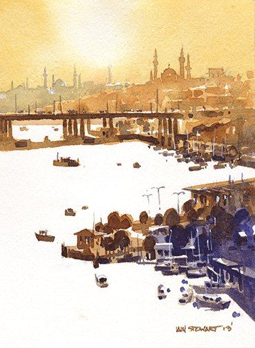 Iain Stewart Watercolors From Pierre Loti Hill- Istanbul