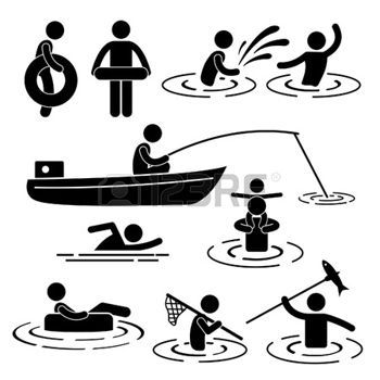 swimming sticks: People Children Leisure Swimming Fishing Playing at River Water Stick Figure Pictogram Icon