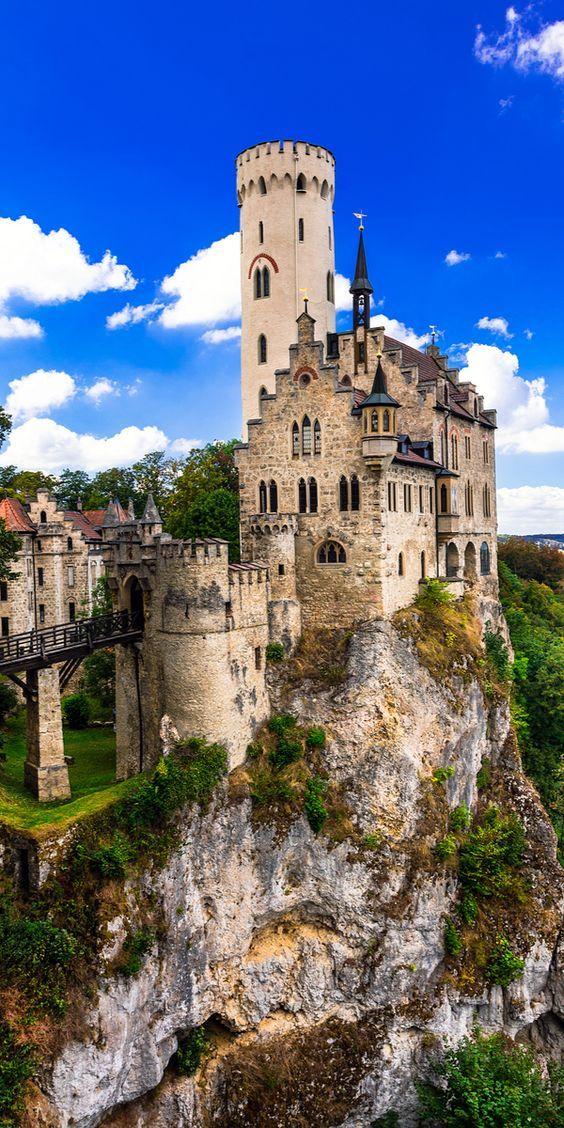Lichtenstein Castle (1840-42, 1980,1998-2002). Gothic revival. Reutlingen, Baden-Württemberg, Germany.