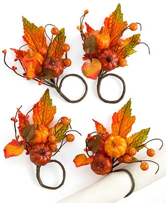 Excell Napkin Rings, Set of 4 Grateful - Fall Table Linens - Dining & Entertaining - Macy's