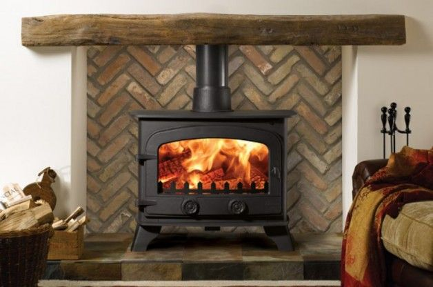 pictures of installed wood stoves | Installing Wood Stove Rattan Basket Picture Information:
