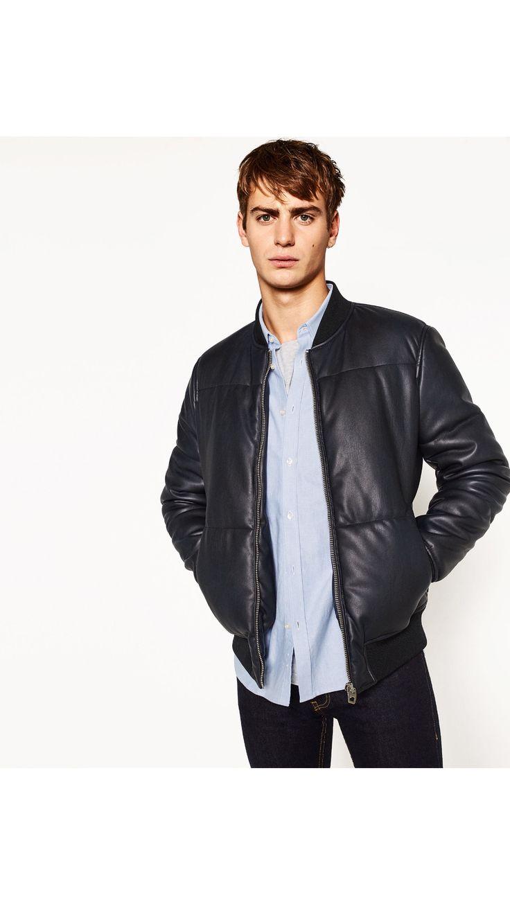 Zara man leather jacket